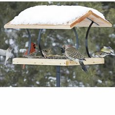Offer a variety of foods on this large platform to draw the greatest number of birds.Offer seed, suet and even fruit—the BirdsChoice Fly-Through has a removable, rust resistant screen that allows for drainage and is easy to clean. Our fly-through is made with 7/8 inch thick cedar with rugged wrought-iron roof supports. Cedar is known for its strength and ability to resist rot, insects and other wood pests and does not warp. Mount on a 1 inch pole or 4 x 4 inch post. #BirdFeeder
