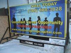 Investors Group invested in a Portable Sign to advertise for open positions in their company #portablesign #outdooradvertising #minibillboard #outofhomemarketing