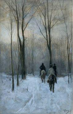 riders in the snow of the woods at the hague- anton mauve(1879)  세 남자가 해도 지고 어두운 눈 온 산속을 말을 타고 어디론가로 이동하고 있다. 그림 속 분위기는 어둡고 무겁다. 그들은 어디로 향하고 있는 것일까? 그들의 상황을 보여주듯이 흐린 날씨와 경직된 그들의 뒷모습이 보인다.