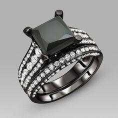 black engagement ring for women black cubic zirconia princess cut wedding ring set - Black Wedding Rings For Women