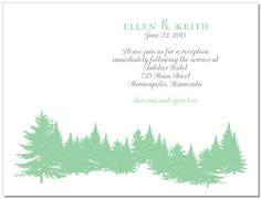Wedding Invitation : Evergreen Information Card Lovely little nature scene. Perfect for those outdoor lovers! Plant this card and it will grow into wildflowers that your guests will be able to enjoy and think of you and your special day when they bloom!
