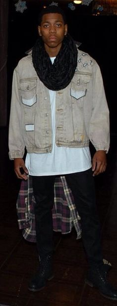 "KABIR - Redesigned tan denim ""Q"" jacket w/plaid flannel shirt attached (graphics by Tamara Todd  Teen Fashion Men's Fashion"