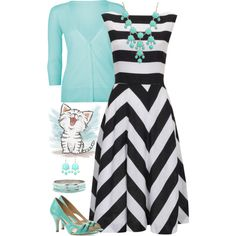 Black, white, and teal!, created by jamie-burditt on Polyvore
