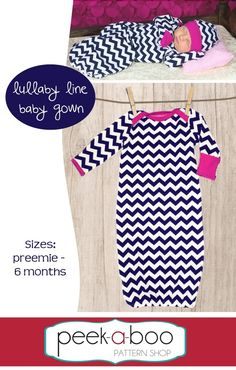 Lullaby Line Baby Gown PDF Sewing Pattern includes preemie size up to 5lbs