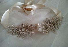 Flower Crystal Rhinestone Headband Wedding by MadamePearlJewelry, $28.00