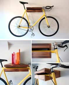 What a great way to store a bike.  Just be sure the shelf is well-attached to the wall (ie. a stud, using a screw of the correct lenght, size and type).