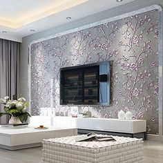 QIHANG Modern Simple Thick Non-Woven Embossed Tree Flowers Pattern Living Room Wallpaper Roll Purple&Gray Color x Square feet Tv Wall Design, Design Case, House Design, Tv Unit Decor, Tv Wall Decor, Home Wallpaper, Wallpaper Roll, Flower Wallpaper, Tv Wanddekor