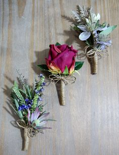 Wedding Buttonhole Designs for a Rustic Theme with Natural Twine and Wild Flowers - Artificial Flowers