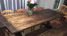 Rustic Trestle Table Trestle Table, Dining Table, Under The Table, Parsons Chairs, Woodworking, Rustic, Room, Furniture, Design
