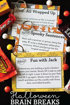 Refocus, recharge, and refresh your students with these free Halloween Brain Breaks!