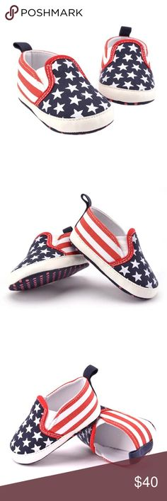 American Flag Baby Crib Shoes 4th July Patriotic The perfect stars & stripes walkers for your pint-sized patriot! 🇺🇸 Unisex American flag-print crib shoes for your little baby girl or boy! Easy slip-on sneaker style. Cotton-based canvas, EVA materials.  Boutique–brand new! No trades/holds.  Size      App. Age     Sole Length     Sole Width         Size 1:    0-6mos      11.5cm/4.52''     5.5cm/2.16''        Size 2:   6-12mos    13.0cm/5.12''     6.0cm/2.36''       Size 3:  12-18mos…