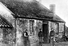 Old photograph of the cottage of a Blacksmith at Kirkintilloch near Glasgow, Scotland