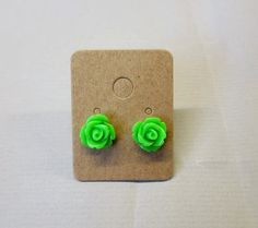 Kiwi Green Resin Rose Cabochons 10mm Earrings by RatDogInk on Etsy, $7.00