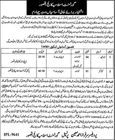 Government Islamia College Kasur Jobs 2015