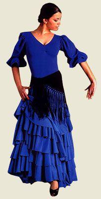 Falda lisa de seis volantes desde la cadera. Disponible en rojo, azul marino, burdeos y negro. Un modelo básico ideal para combinar con los modelos de body y tops cruzados como vestuario de ensayo o escenario.