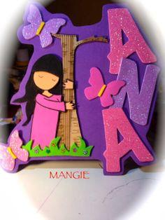Artemangie: LETRERO NOMBRE GORJUSS ÁRBOL- GOMA EVA Decoupage, Name Art, Birthday Candles, Fun Crafts, Lunch Box, Diy, Banners, Stickers, Grafiti