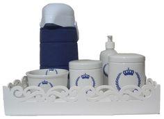 Kit Higiene em Porcelana - Coroa Azul e Branco