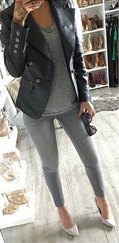 Grey Skinny Jeans // Cream Pumps // Leather Jacket // Grey Top
