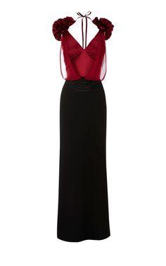 Karen Millen Long Frilled Dress red and Black ,fashion Karen Millen Multicolor Dresses outlet