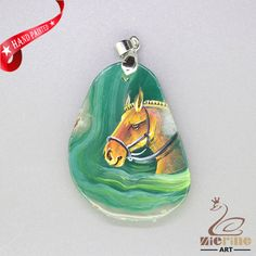 UNIQUE HAND PAINTED ARABIANHORSE PENDANT FOR NECKLACE GEMSTONE ZL807853 #ZL #Pendant