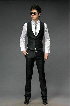 Beckham Vest Men's Formal Suit Tank Top Suit V-necked Slim Fit ...