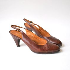 Vintage 1970s Ralph Lauren Brown Leather Slingback Heels by RockAndRollVintage, $26.00