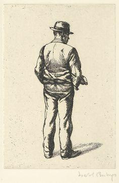 """Man Standing,"" Isabel Bishop, etching, plate: 5 7/8 x 3 15/16"", The Metropolitan Museum of Art."