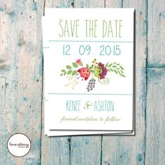 Floral Save the Date / Wedding Invitation / Vintage Invitation / DIY Printable / Printed Invitations with free envelopes #bestofEtsy #etsymnt