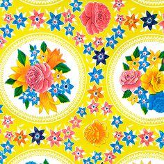 Toile Cirée Rosario Yellow   Toile cirée à la coupe   Linge de maison   Pivoine et Tapioca