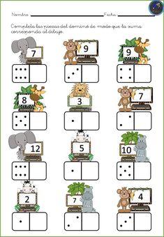 # first class lessons Kindergarten Math Worksheets, Preschool Learning Activities, Teaching Math, Preschool Activities, Spanish Teaching Resources, Math Numbers, First Grade Math, Math For Kids, Math Games