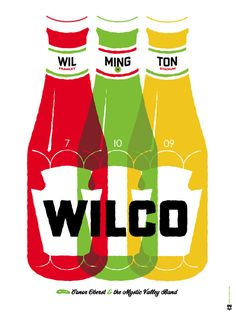 Show print from Wilco's show at Frawley Stadium in Wilmington, DE. Love the colors.