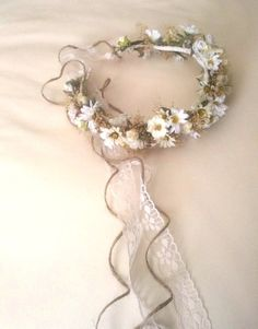 Bridal Floral Crown Wedding Accessories dried flower hair wreath Headpiece halo Ivory White garland  Woodland Fairy circlet lace headdress