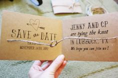 tie the knot save the date. I love this idea! Have a picture of us as background tieing a knot.