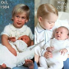 Prince William holding Harry - Prince George holding Charlotte