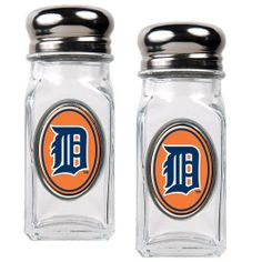 MLB Detroit Tigers Salt and Pepper Shaker Set with Crystal Coat by Great American Products. $13.73. This salt & pepper shaker set is constructed of heavy-duty square glass and stainless steel screw-on tops.. Save 31% Off!