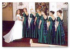 #Irish #wedding ideas / inspiration-Silk Tartan Sashes made into bows for the Bridesmaids dresses