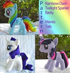 My Littly Pony Mane and Tail Sewing Pattern Twilight Sparkle Rainbow Dash Rarity Digital Copy.