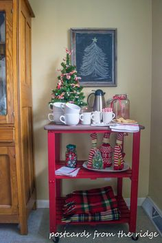 Postcards from the Ridge: Red Hot Cocoa Cart ~ Themed Furniture Makeover