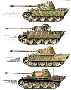 Verschiedene Ausführungen vom Panzerkampfwagen Panther 1943 - 45