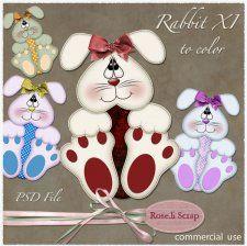 Rabbit XI to color by Rose.li #CUdigitals cudigitals.comcu commercialdigitalscrapscrapbookgraphics