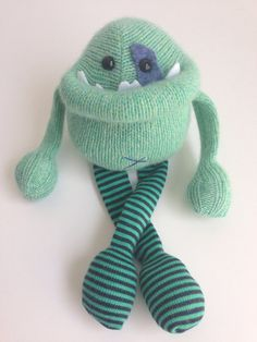 Smug Monster mini- one of a kind plush sculpt upcycled toy