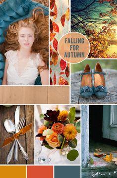 Autumn, Fall, Falling for Autumn, mood board, inspiration board, orange, brown, rust, copper, blue