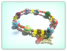 Boho Gold Butterfly Charm Bracelet, Rainbow Colours Bracelet Polymer Clay Shamballa Bead UK Summer Festival Accessories by SimplyPrettyJewels on Etsy