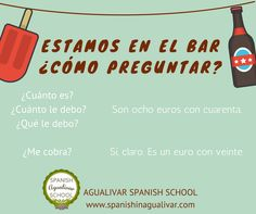 Cómo preguntar en el bar. Spanish grammar. Bar, Learn Spanish