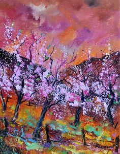 "Saatchi Online Artist: Pol Ledent; Oil, 2011, Painting ""Blooming cherrytrees"""