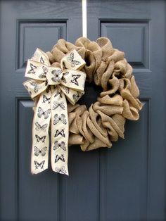 Burlap Wreath Butterflies Burlap Door Wreath by WreathsByRebeccaB, $38.00