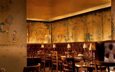 Bemelman's Bar: Expensive? Yes. Extraordinary? Yes, and yes. In 1947, Ludwig Bemelmans—illustrator of the beloved Madeline books—painted murals of New York on the walls of the bar at the Carlyle in exchange for room and board at the hotel.