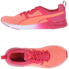 Puma Low-tops & Trainers ($92) ❤ liked on Polyvore featuring shoes, sneakers, salmon pink, flat shoes, salmon shoes, two tone shoes, puma trainers and print shoes