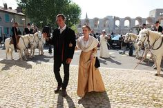 A traditional wedding in Arles, Provence. After getting married by the mayor Hervé Schiavetti at the city hall, Elodie Borelly is brought on a white horse to the Mayor Church, dressed with the traditional costume of Arlésienne. After the catholic ceremony, the groom, Victor Mailhan, takes the bride away also on his horse. The following party happened at the Mas des Bernacles, the Mailhan's family estate in Camargue.  #Arles