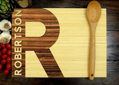 Personalized Cutting Board, Custom Wedding Gift, Anniversary Gift, Housewarming Gift, Christmas Gift, Chef Gift, Simplistic Typography by WoodKRFT on Etsy https://www.etsy.com/listing/287099395/personalized-cutting-board-custom